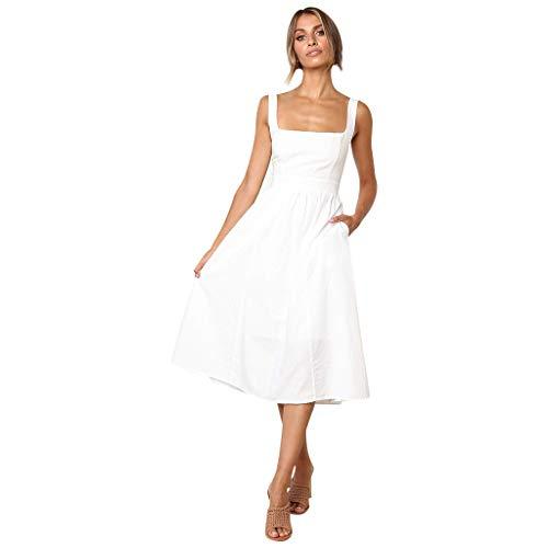 Women's Tube Top Sling Retro Solid Color with Pocket Midi Dress Bandage Dress Women's Sexy Mini Dress White ()