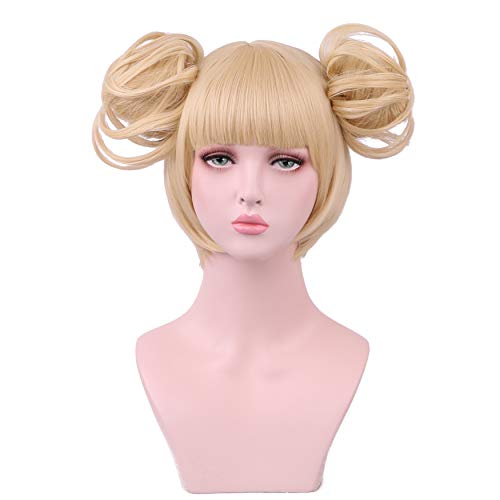 Yilys Short Blonde Cosplay wig Halloween Costume Hair Wigs(2 Detachable Buns with -
