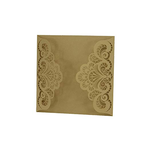 Yu2d  20 Pcs Delicate Carved Romantic Wedding Party Invitation Card Envelope(Gold) -