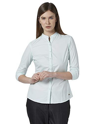 Park Avenue Woman Solid Light Green Coloured Woman Polyester Blend Shirts