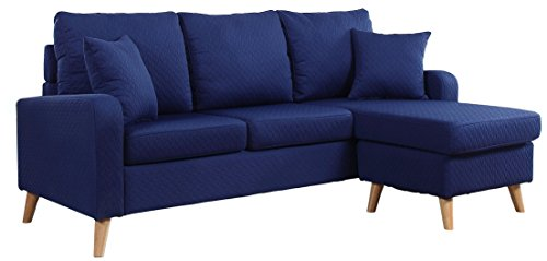 Divano Roma Furniture Mid Century Modern Linen Fabric Small Space Sectional Sofa with Reversible Chaise (Dark Blue)