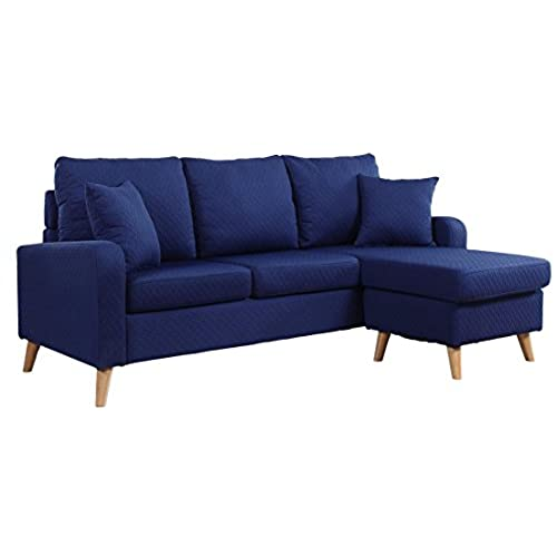 Delightful Divano Roma Furniture Mid Century Modern Linen Fabric Small Space Sectional  Sofa With Reversible Chaise (Dark Blue)