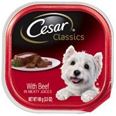 6 Individual Portion of CESAR Canine Cuisine Wet Dog Food with Beef, 3.5 oz. ea