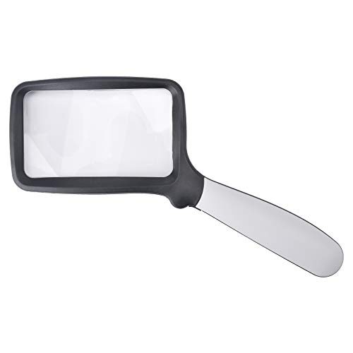 Beileshi 2X Handheld Magnifying 5 LED Light Folding Rectangle Reading Magnifiers for Seniors/Aid Read/Students Experiments Observe/Macular Degeneration
