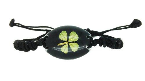 4 Leaf Clover Bracelet - Real Four Leaf Clover Unisex Black Bracelet with Gift Box & Guarantee