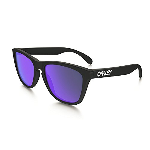 Oakley Men's Frogskins (a) Polarized Iridium Rectangular Sunglasses, Matte Black, 54 - Sunglasses Frogskins