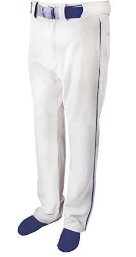 Martin Sports YOUTH Baseball/Softball Belt Loop WHITE Pants, with Color Piping (Youth Large, Navy Blue Piping)