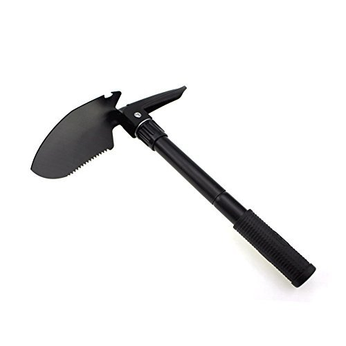 Camping Folding Shovel,Multi-functional Survival Spade Military Mini Portable Stainless Steel Shovel for Camping, Backpacking, Gardening, Hiking (Black)