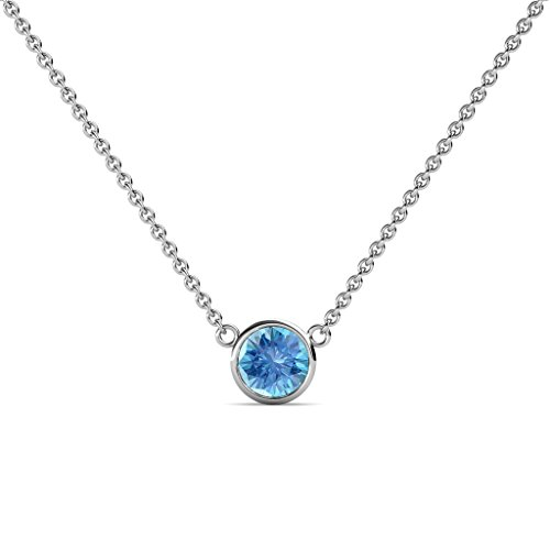 - TriJewels Round Blue Topaz 0.50 ct Bezel Set 5mm Womens Solitaire Pendant Necklace 14K White Gold with 16 Inches Gold Chain