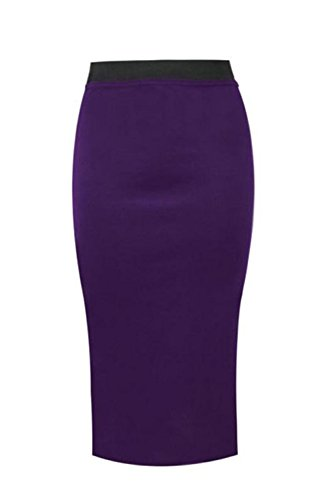 TUBE NEW MIDI WIGGLE SKIRT WAIST STRIPED WOMENS PENCIL Janisramone PLAIN BODYCON LADIES HIGH Violet fqvASnw