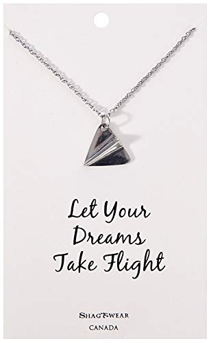 Shag Wear Dream and Music Inspirations Quote Pendant Necklace (Dream Paper Plane Pendant)