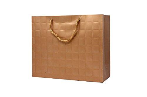 (Singular Metallizing Paper Square Embossed Horizontal Paper, Shopping, Retail Bag with Rope Handle, Large, 16'' L x 12.6'' W x 4.7'' H, Rose Gold, Set of 12)