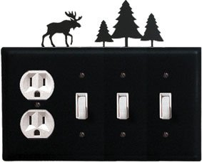 EOSSS-22 Moose & Pine Trees Single Outlet Triple Switch Elect Cover Powder Coat