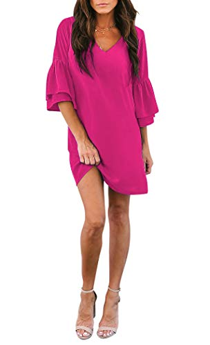 BELONGSCI Women's Dress Sweet & Cute V-Neck Bell Sleeve Shift Dress Mini Dress Rose Red