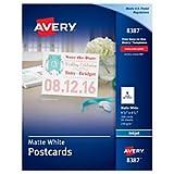 Avery 8387 Postcards for Inkjet Printers, 4 1/4 x 5 1/2, Matte White, 4 per Sheet (Box of 200)