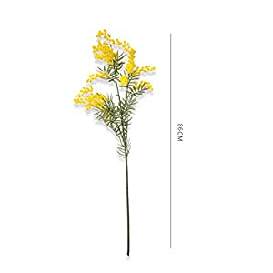 Artificial Fowers 5 Pcs Australia Acacia Red Mimosa Pudica Spray Silk Flower Artificial Flower Wedding Flower Party Event Decor,5Pieces Yellow,Total 87Cm 38