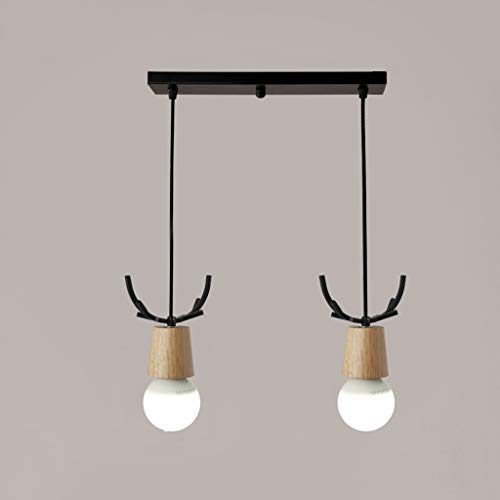 Shihui lights Modern E27 Metal elk Antler Chandelier Single lamp Creative Solid Wood Chandelier lamp Balcony Staircase Bedroom Fashion Black and White Chandelier (Color : Black-White Light, Size : B)