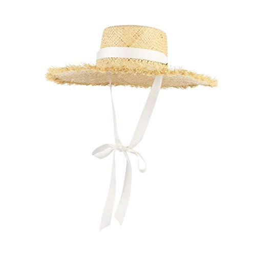 (Handmade Weave Raffia Straw Hat Women Wide Brim Floppy Sun Summer Hats Lady Beach Cap Chin Strap Fashionable White)