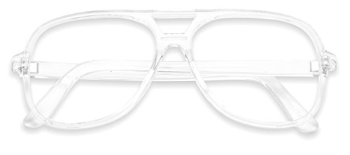 SunglassUP - Over Sized Round Thin Nerdy Fashion Clear Lens Aviator Eyewear Glasses (Clear, - 80s Frame Eyeglasses