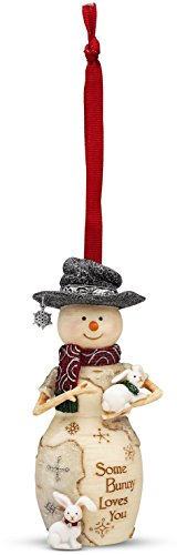 Birchhearts Snowman Ornament Holding a Bunny, Reads Some Bunny Loves You by Pavilion Gift Company, 4-Inch -