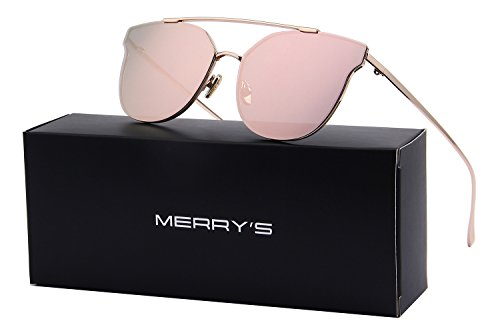 MERRY'S Women Cat Eye Mirrored Sunglasses Metal Frame Sun glasses S8089 (Pink, 56) (Newest Sunglasses)