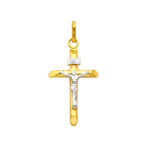 Petit Treasure - 14 ct 585/1000 Or Deux Ton Dainty Crucifix Pendentif
