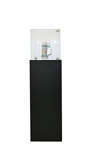 (SC-PED-BK-M) Pedestal Exhibition Stand Display Case, For Retail, Jewelry Display, Museum, Collectible, Tempered Glass, Black Finished With LED Light. Comes with lock. Size: (Black Pentagon Case)