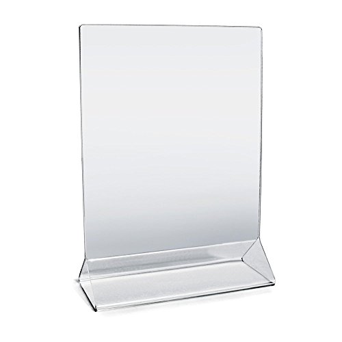 "Acrylic Sign Holder 5"" x 7"" Plastic Menu Frame / Tabletop Display / Clear Durable - Scratch Resistant (5x7, - Frames Sample Glasses"