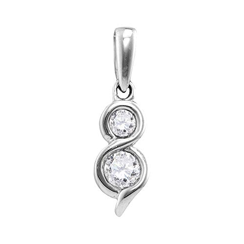 Jawa Jewelers 14kt White Gold Womens Round Diamond 2-Stone Hearts Together Pendant 5/8 Cttw ()