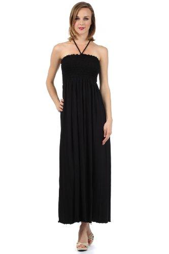 Bodice Halter Dress (Sakkas 5026 Comfortable Jersey Feel Solid Color Smocked Bodice String Halter Maxi / Long Dress - Black / Medium)