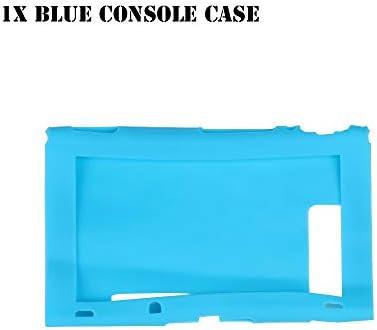 HTBG 任天堂スイッチゲームアクセサリー用シリコーン滑り止め保護スキンケースカバーグリップジョイスティックキャップシェルラップコンソールバンパー (Color : 1X Blue Console Case)