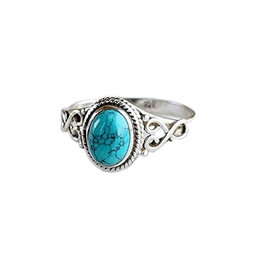 Yunzee Women Bohemia Gem Ring Vintage Natural Gemstone Oval Turquoise Antique Carving Ring Jewelry,Ancient Silver,#10