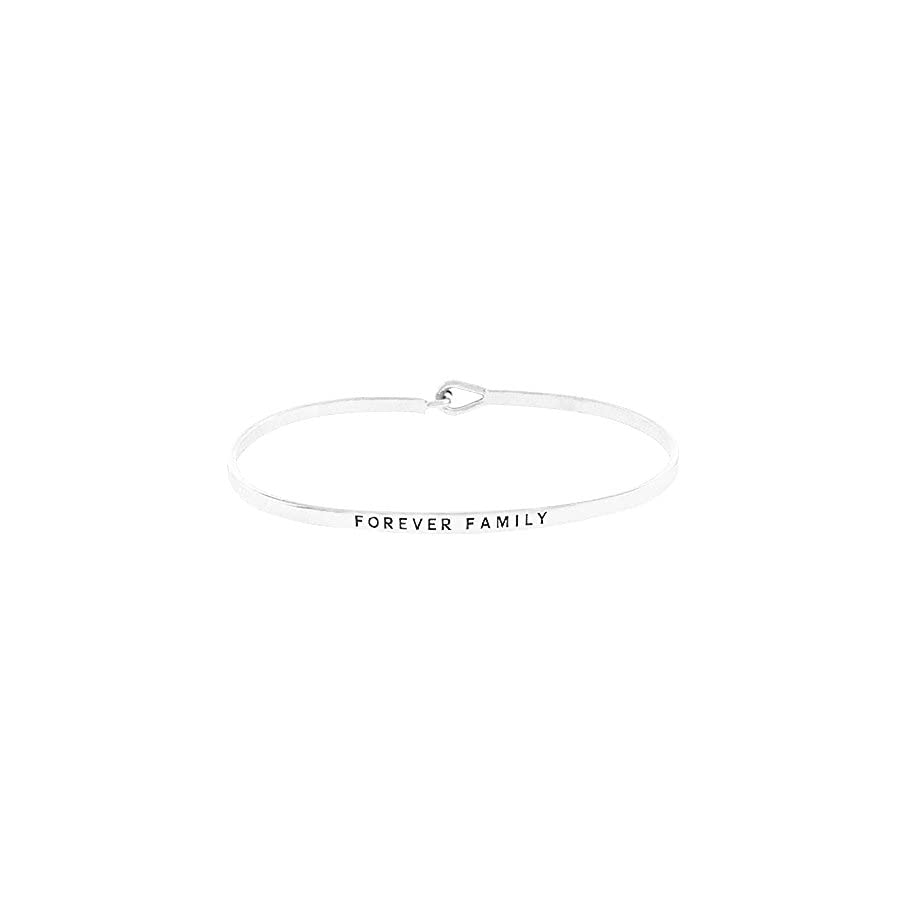 """Women's Silver Tone """"Forever family"""" Thin Hook Bracelet."""