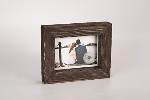 - 4x6 Dark Brown Rustic Picture Frame - PREMIUM QUALITY - Reclaimed Wooden Photo Frame - Wall Mounting or Tabletop Display - Solid & Thick Natural Pine Tree (1.6