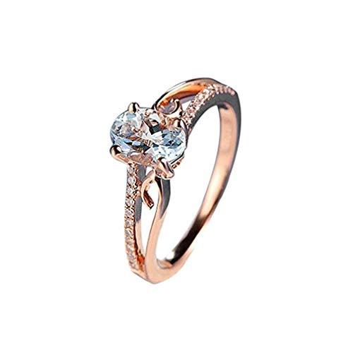 - Windoson New Plated 14k Rose Gold Inlaid Egg-Shaped Gemstone Ring Jewelry Bride Engagement Ring (8, Rose Gold)