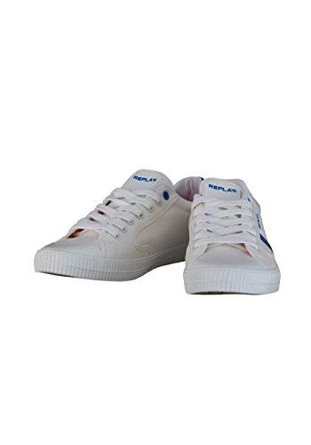 Schnürer Ecru Gummisohle Sneaker Replay Zierstreifen xCUqwYx04