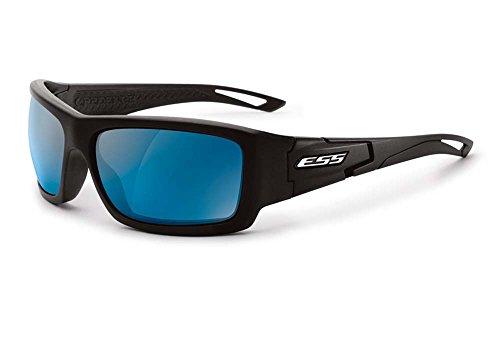 ESS Eyewear Credence Sunglasses, Black w/ Mirrored Blue - Aviator Ballistic Sunglasses