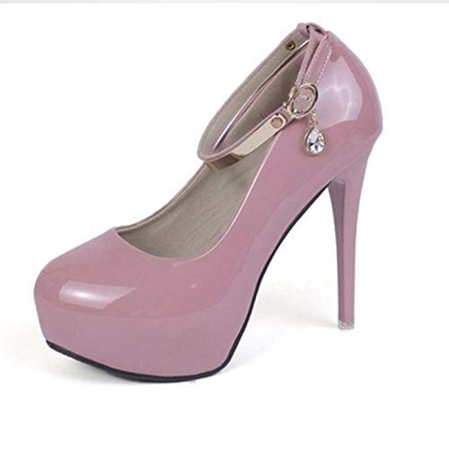 GTVERNH GTVERNH GTVERNH Damenschuhe Mode High - Heel 12Cm Dünne Sohle Runden Kopf Schuhe Einzelne Schnalle Flachen Lack Haut Damenschuhe Wasserdichte Schuhe Tabelle Bohren. 95babf