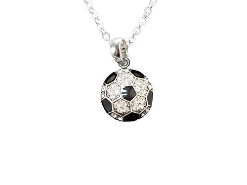 Soccer Ball Clear Crystals Black Enamel Silver Fashion Necklace