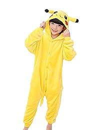 Tonwhar Pikachu Costumes for Children Kids Cuddly Onesie Pajamas