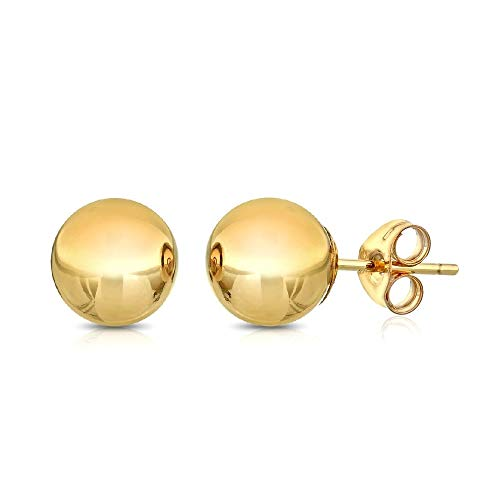 Premium 14K Gold Ball Stud Earrings-with Real 14K Gold Butterfly Backings 3mm-8mm Yellow White or Rose (Yellow, 6)