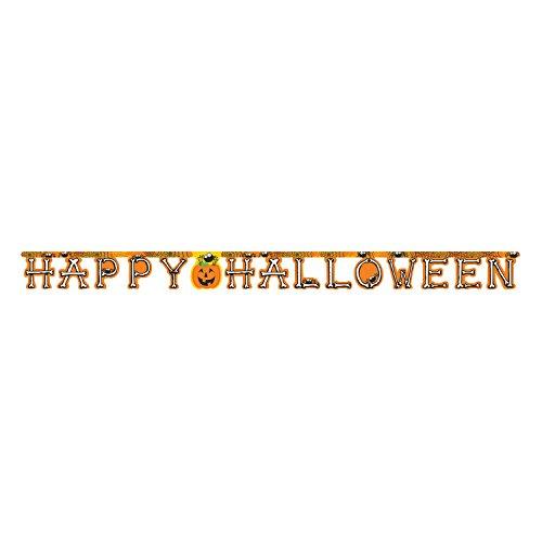 (Club Pack of 12 Orange Happy Halloween Pumpkin, Spiders, and Bones Banner)