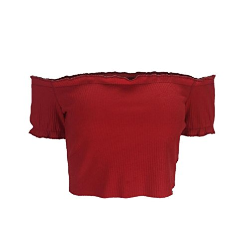 Damen Schlank Elastischen Sommershirt Kurzen Kurzarm GJKK Top Shirt Bluse Rot Kurzarmshirt Trägerlosen Oberseiten Schulterfrei Tops Bodycon Reizvolle Crop Trägerlose Feste Hemd Damen rarq07
