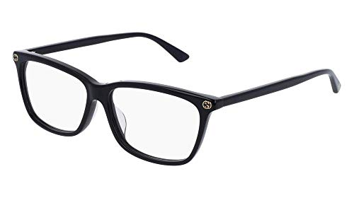 - Gucci GG 0042OA 001 Asian Fit Black Plastic Cat-Eye Eyeglasses 55mm