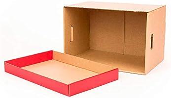 Kartox   Cajas de almacenamiento con tapa roja mate   Cajas para mudanza y almacenaje de cartón con asas   Cajas se cartón muy resistente  53.2x33.1x32.5 (largo x ancho x alto) en