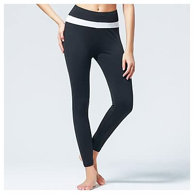 Wuyulunbi@ Pantalon de Yoga-respirante / Wicking extensible naturel Vêtements sports Blanc / Noir / Pêche / Othersyoga Femmes,Pilates,XL Noir/Blanc