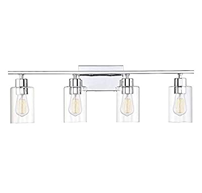 """Savoy House 8-2149-4-11 Lambert 4-Light Bathroom Vanity Light in Polished Chrome with Clear Glass (31"""" W x 10"""" H)"""