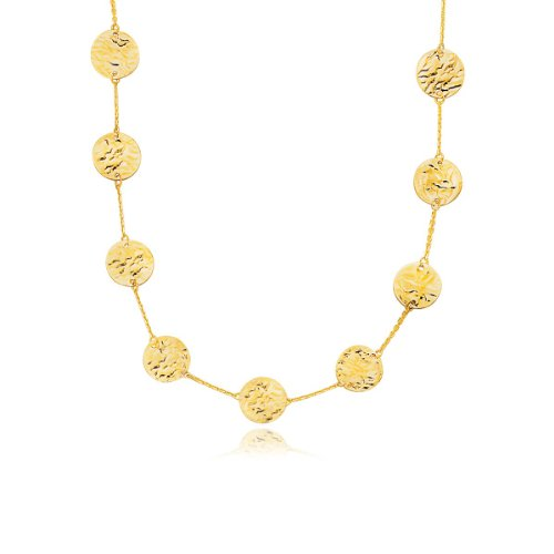 14K Yellow Gold Textured Disc Long Layering (Textured Disc Necklace)