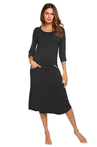 Ekouaer Womens Nightgown Cotton Sleep Shirt Dress Casual Pocket 3/4 Sleeve Midi Long Sleepwear (Black - Shirt Ladies 3/4 Cotton Sleeve