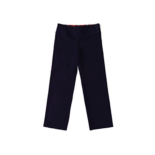 Bienzoe Girl's School Uniforms Stretchy Polyester Adjust Waist Flat Front Pants